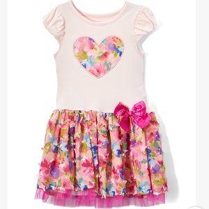 Coral Floral Heart A-Line Dress